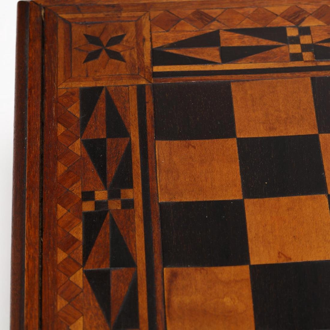 Antique Folk Art Inlaid Game Board - 7