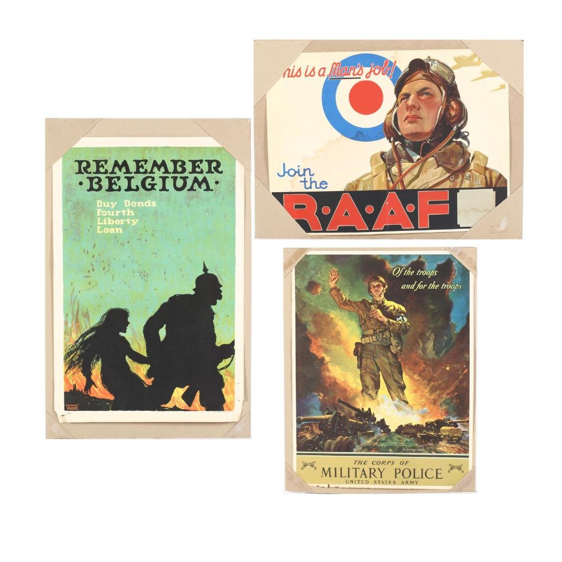 Group of (3) Original WWI and II Posters - Young,