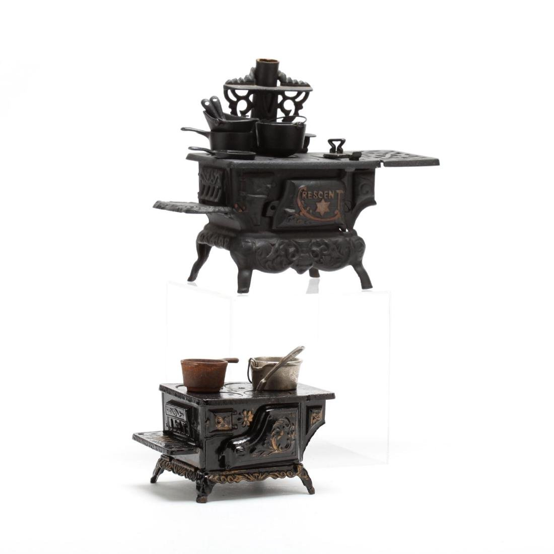 Two Toy Cast Iron Stoves