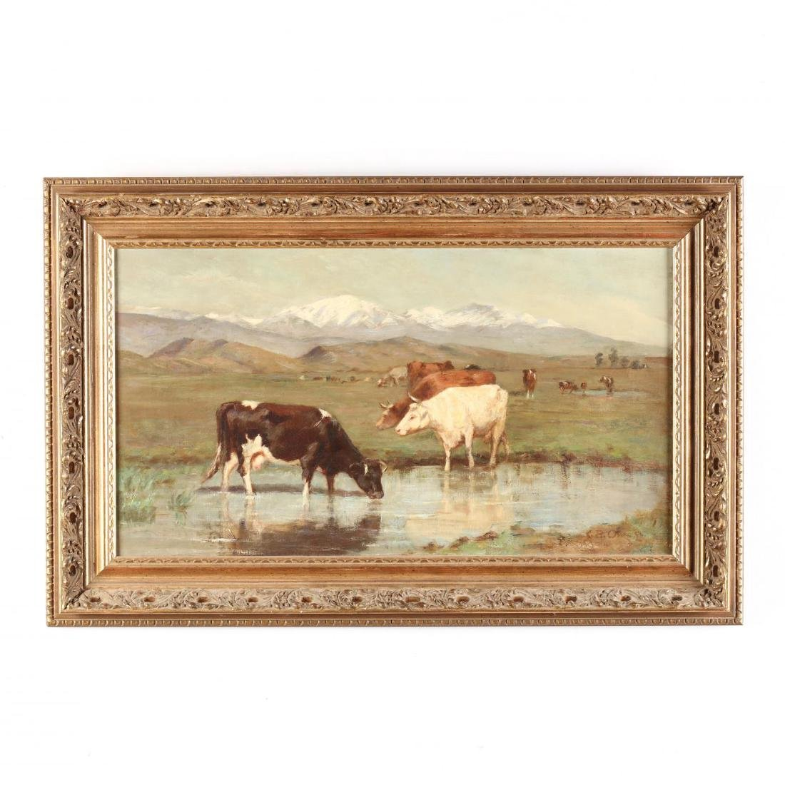 Antique Western Landscape Painting with Cattle