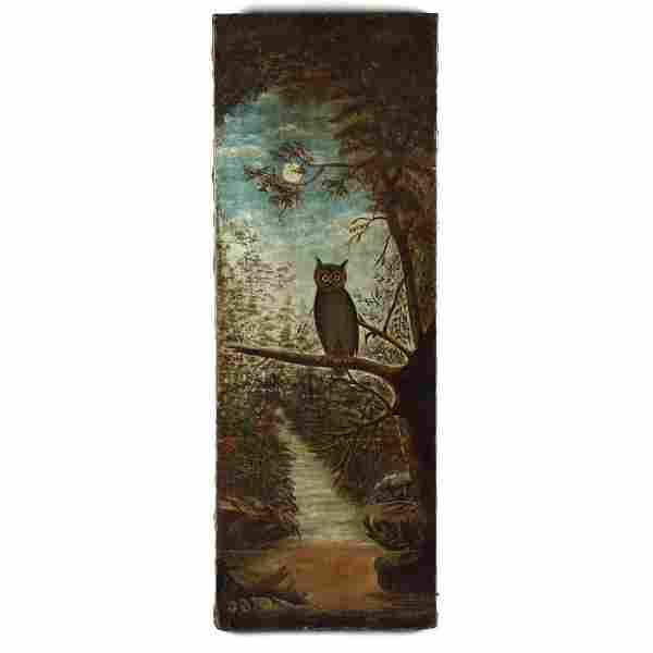 An Antique American Folk Art Painting of an Owl in the