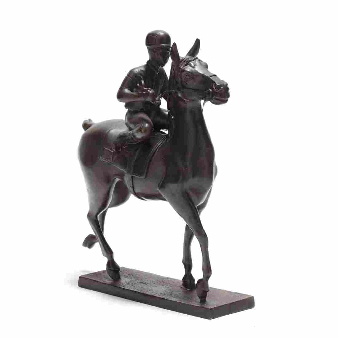 Contemporary Bronze Sculpture of a Horse and Jockey