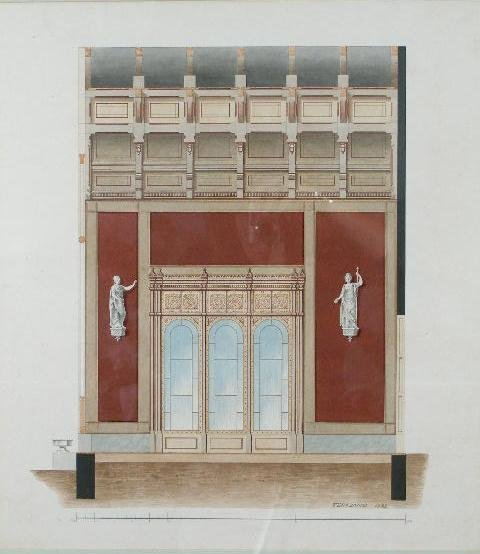 7: Pair of Neoclassical Architectural Watercolors,