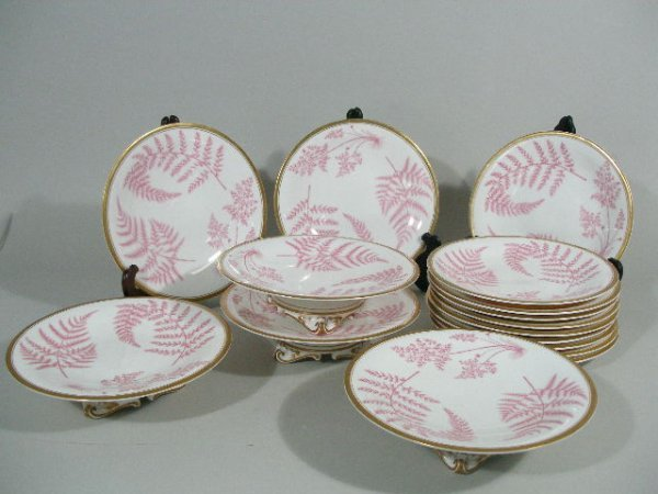 12: English Bone China Pink Fern Dessert Service,