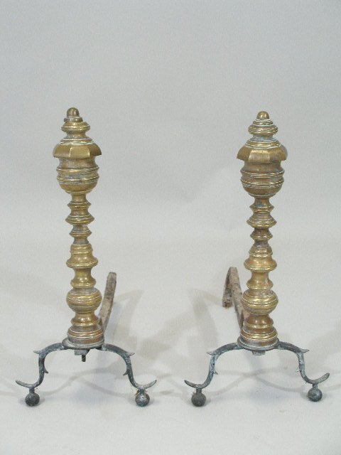 14: Brass Andirons, American, Early 19th c.,