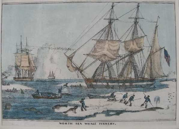 """16: Hand Colored Lithograph, """"North Sea Whale Fishery"""","""