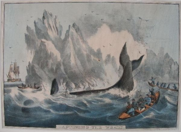 """17: Nathaniel Currier Lithograph, """"Capturing the Whale"""""""