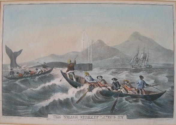 """18: Nathaniel Currier Lithograph, """"The Whale Fishing 'L"""