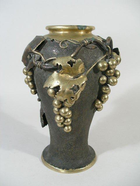 23: Monumental Bronze Vase w/Brass Overlay,