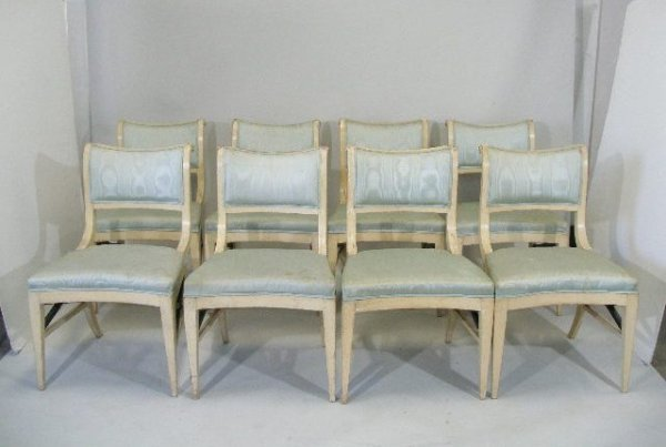 110: Set of Eight Directoire Style Dining Chairs, 19th