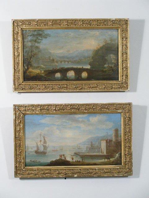 """245: Pair of Landscapes, Probably """"Grand Tour"""" Souvenir"""