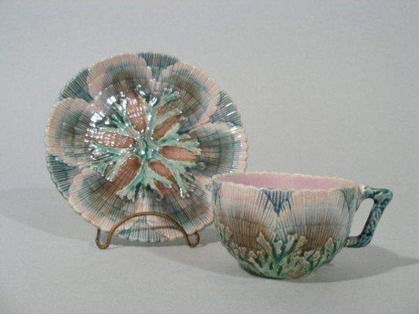Etruscan Majolica Shell & Seaweed Cup and Saucer,