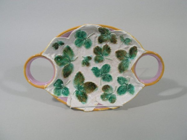1012: George Jones Majolica Strawberry Server, c.1870's