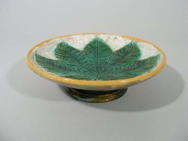 1013: George Jones Majolica Compote, c. 1870's,