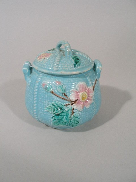1017: Majolica Rose & Rope Covered Sugar, 1880's,