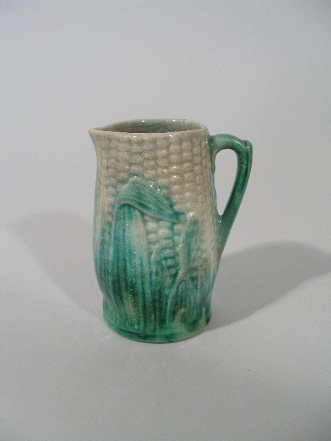 1019: Majolica Ear of Corn Pitcher, Late 19th c.,