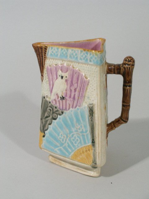 1023: Majolica Owl & Fan Pattern Milk Pitcher,