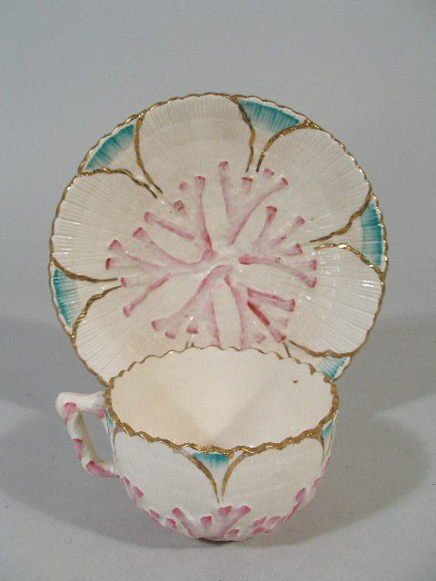 1119: Etruscan Majolica Albino Shell And Seaweed Cup an