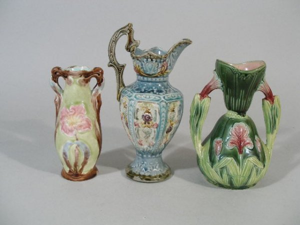 1142: Three Majolica Pieces, Continental Victorian,