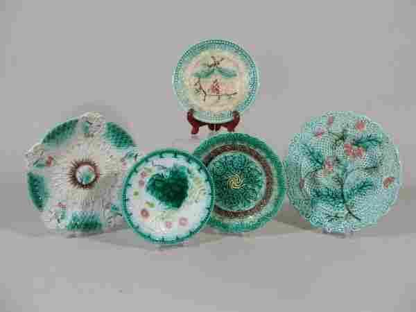 1143: Five Majolica Plates, Continental, 19th c.,