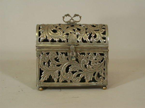 1004: Miniature Silver Chest, 18th c., Peruvian,