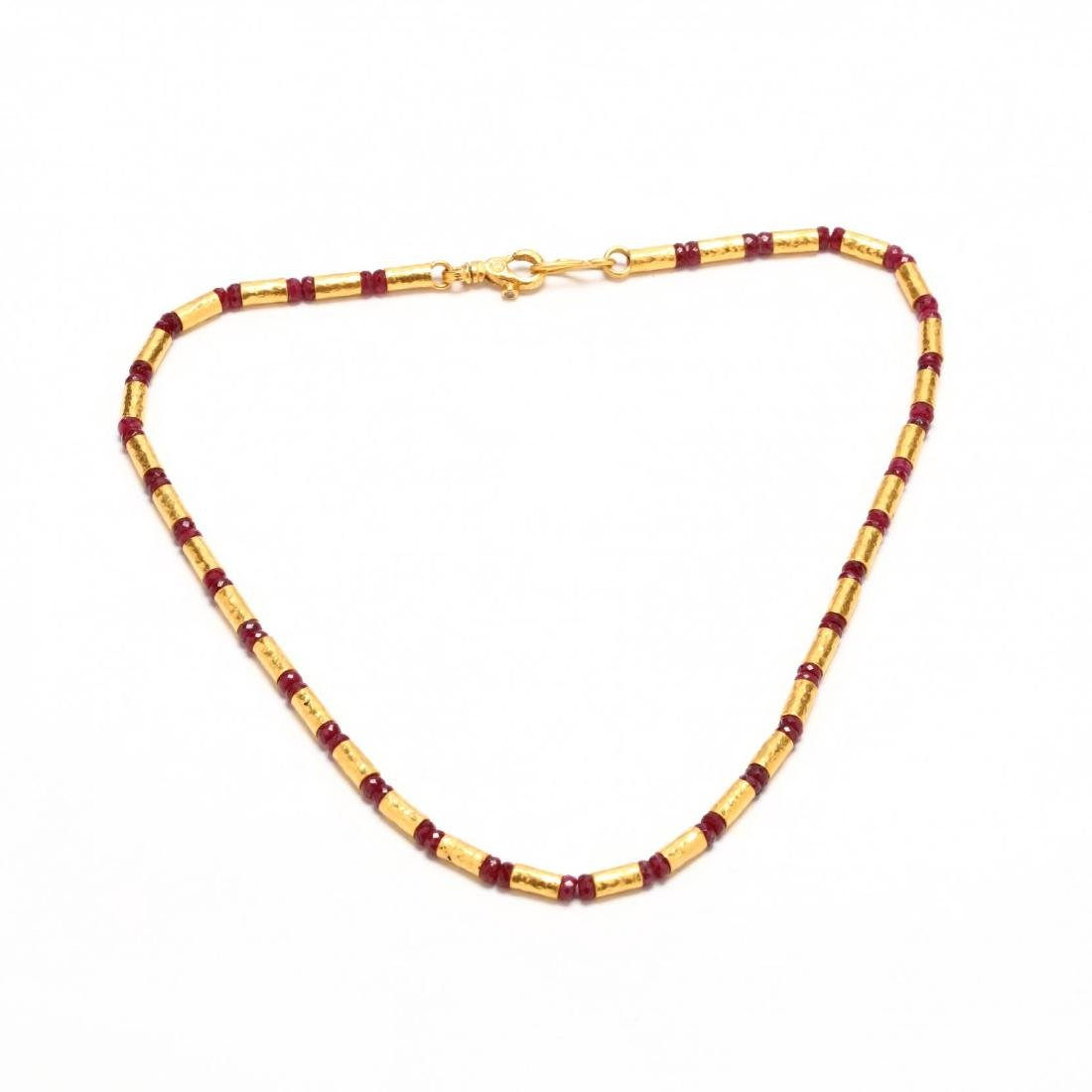 24KT Gold and Ruby Necklace, Gurhan