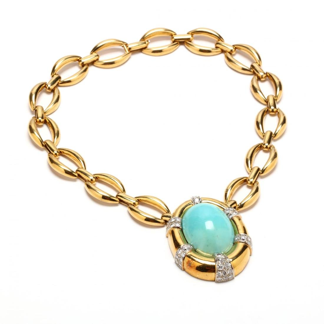 18KT Gold, Turquoise, and Diamond Necklace