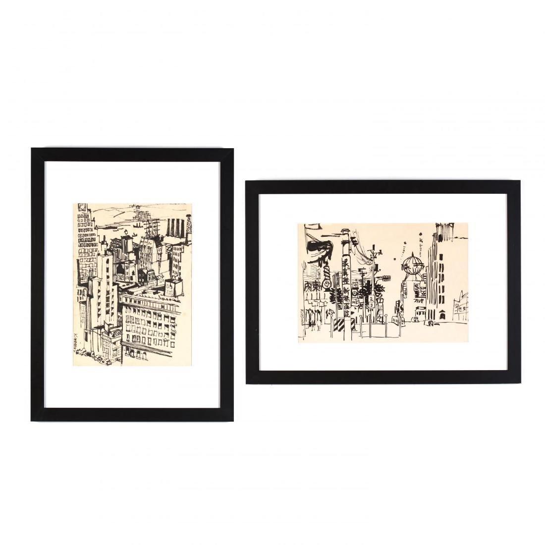 Dong Kingman (CA/NY, 1911-2000), Two Cityscapes