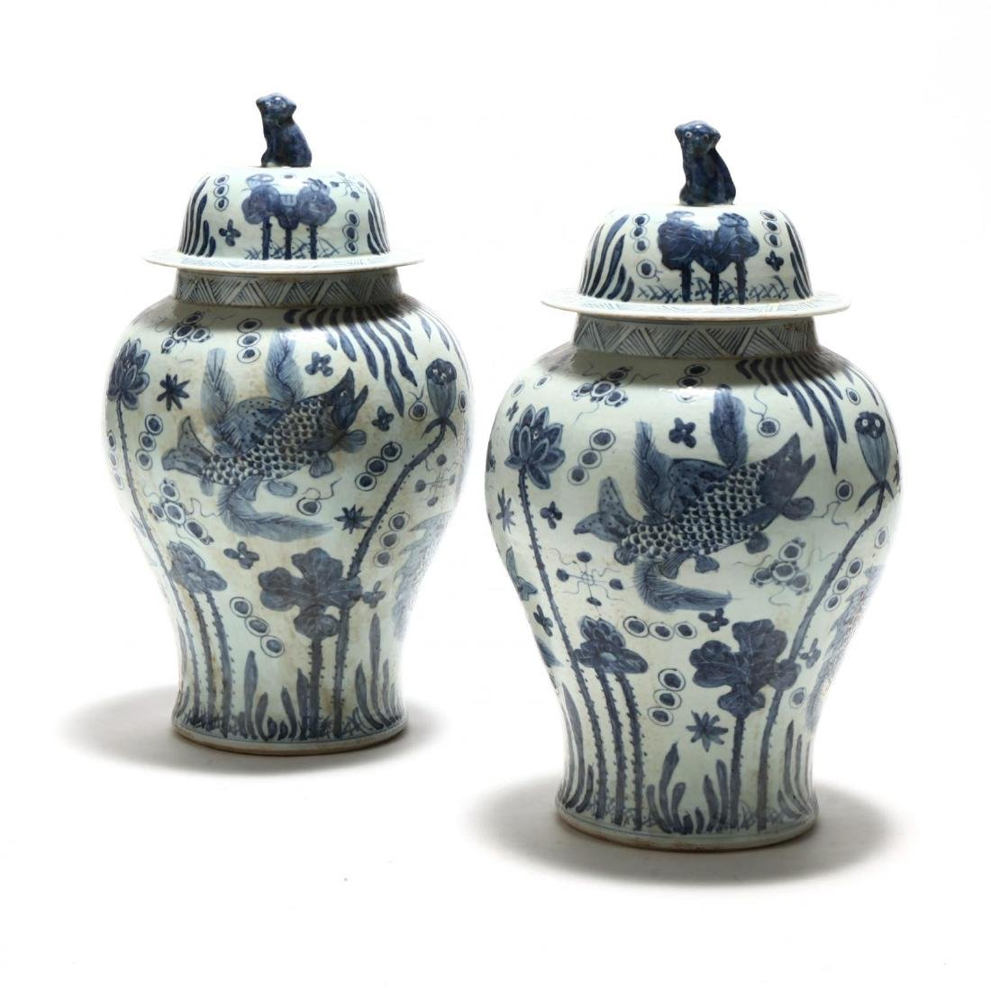 A Pair of Chinese Blue and White Temple Jars