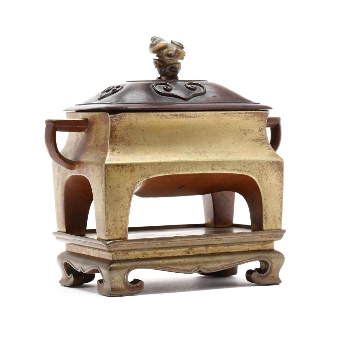 A Chinese Rectangular Bronze Censer with Stand and