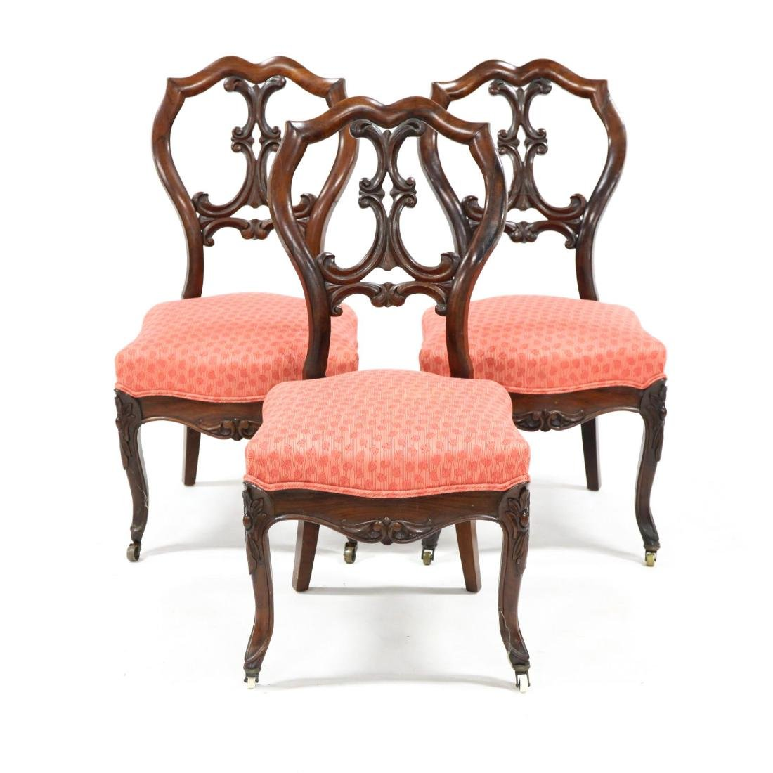 Set of Three English Rococo Revival Side Chairs