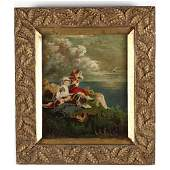 A 19th Century Painting of Two Children and Dog by the