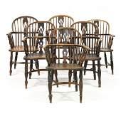 Assembled Set of Six English Windsor Arm Chairs