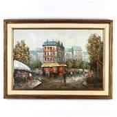 French School (20th C), A Large Parisian Street Scene