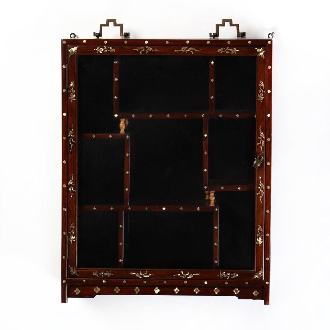 Chinese Carved Hardwood and Inlaid Display Cabinet