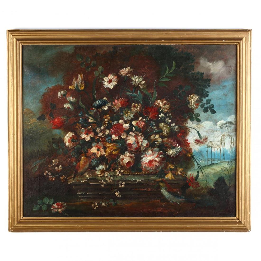 A Large Floral Still Life with Birds in the French