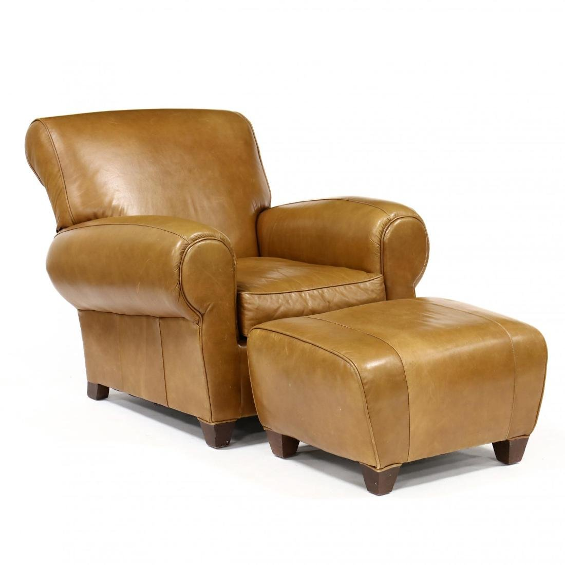 Lovely Mitchell Gold, Contemporary Leather Club Chair And