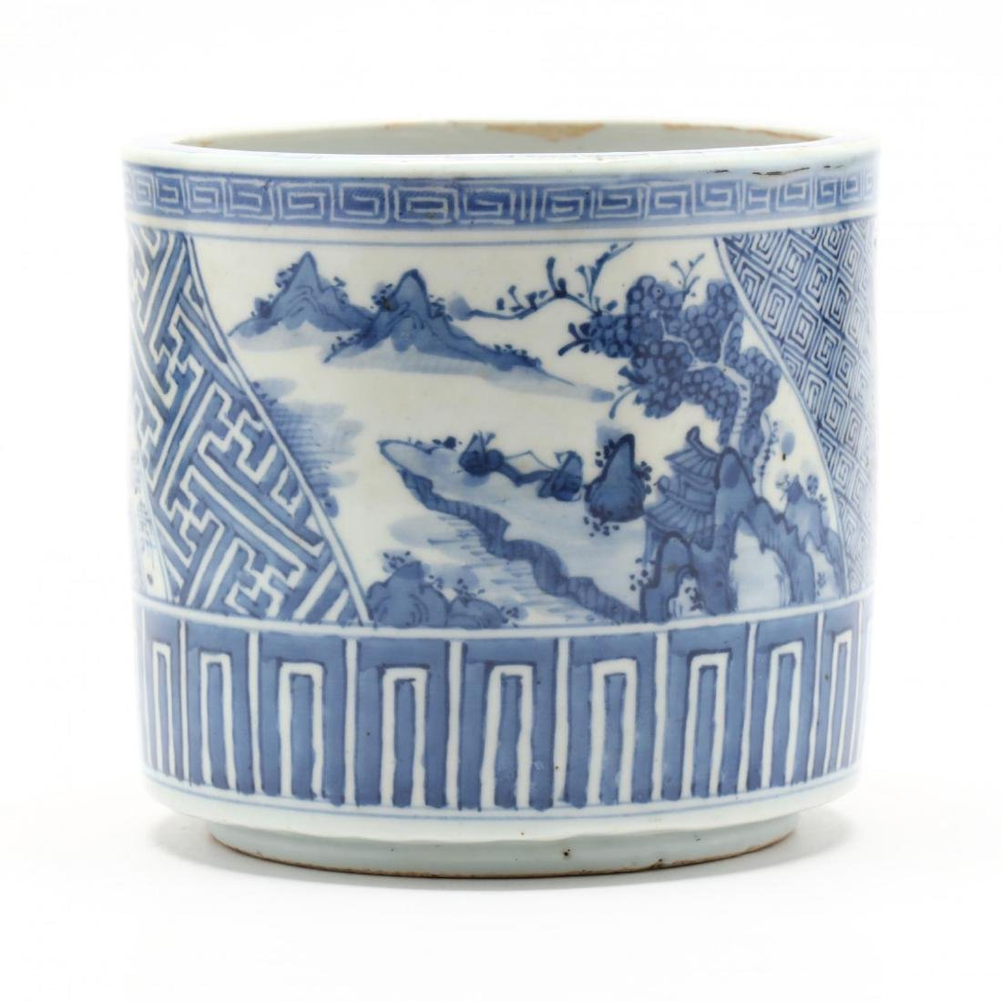 A Japanese Blue and White Porcelain Brush Pot