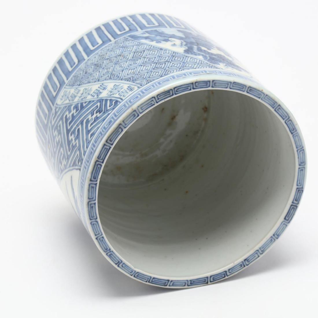 A Japanese Blue and White Porcelain Brush Pot - 3