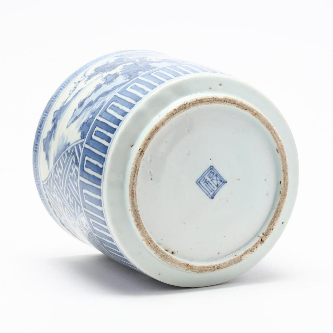A Japanese Blue and White Porcelain Brush Pot - 4