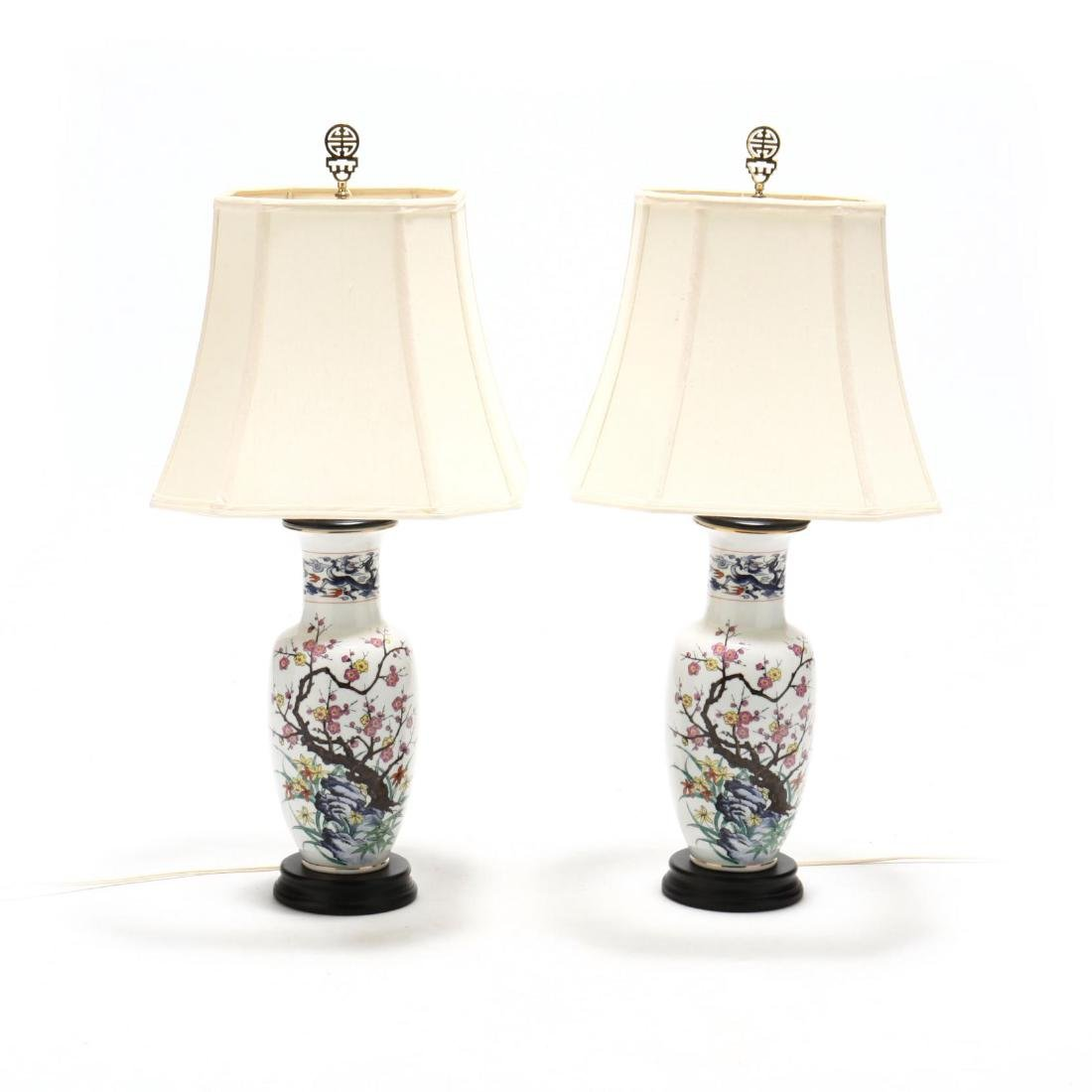 Pair of Chinese Export Style Porcelain Table Lamps
