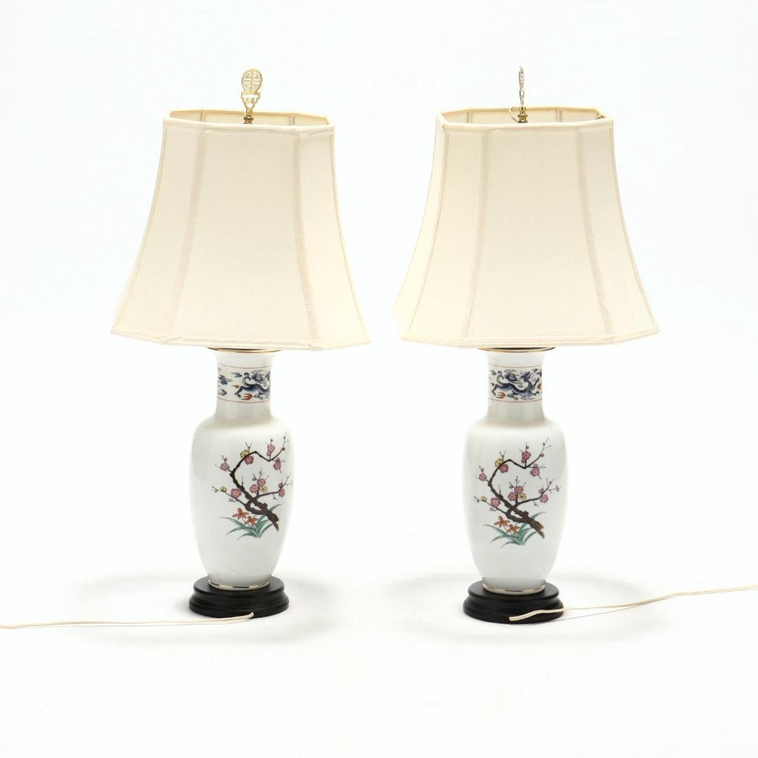 Pair of Chinese Export Style Porcelain Table Lamps - 2