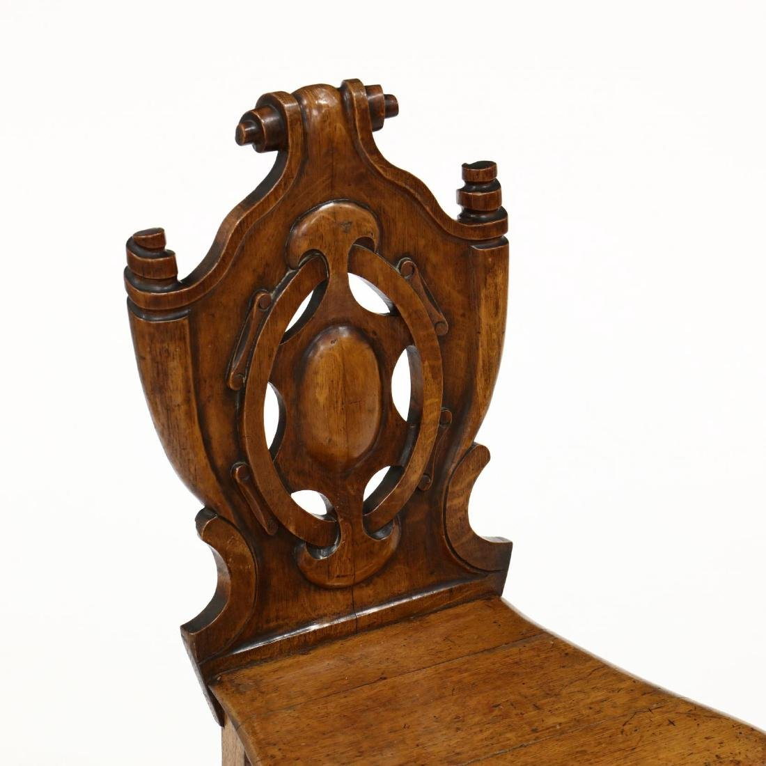 Pair of English Carved Oak Hall Chairs - 2