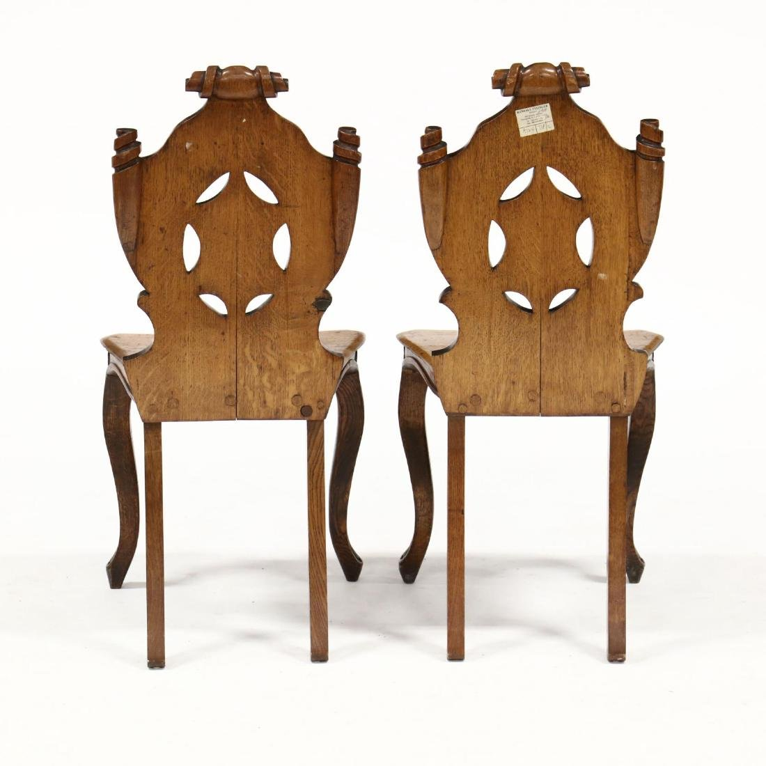 Pair of English Carved Oak Hall Chairs - 3