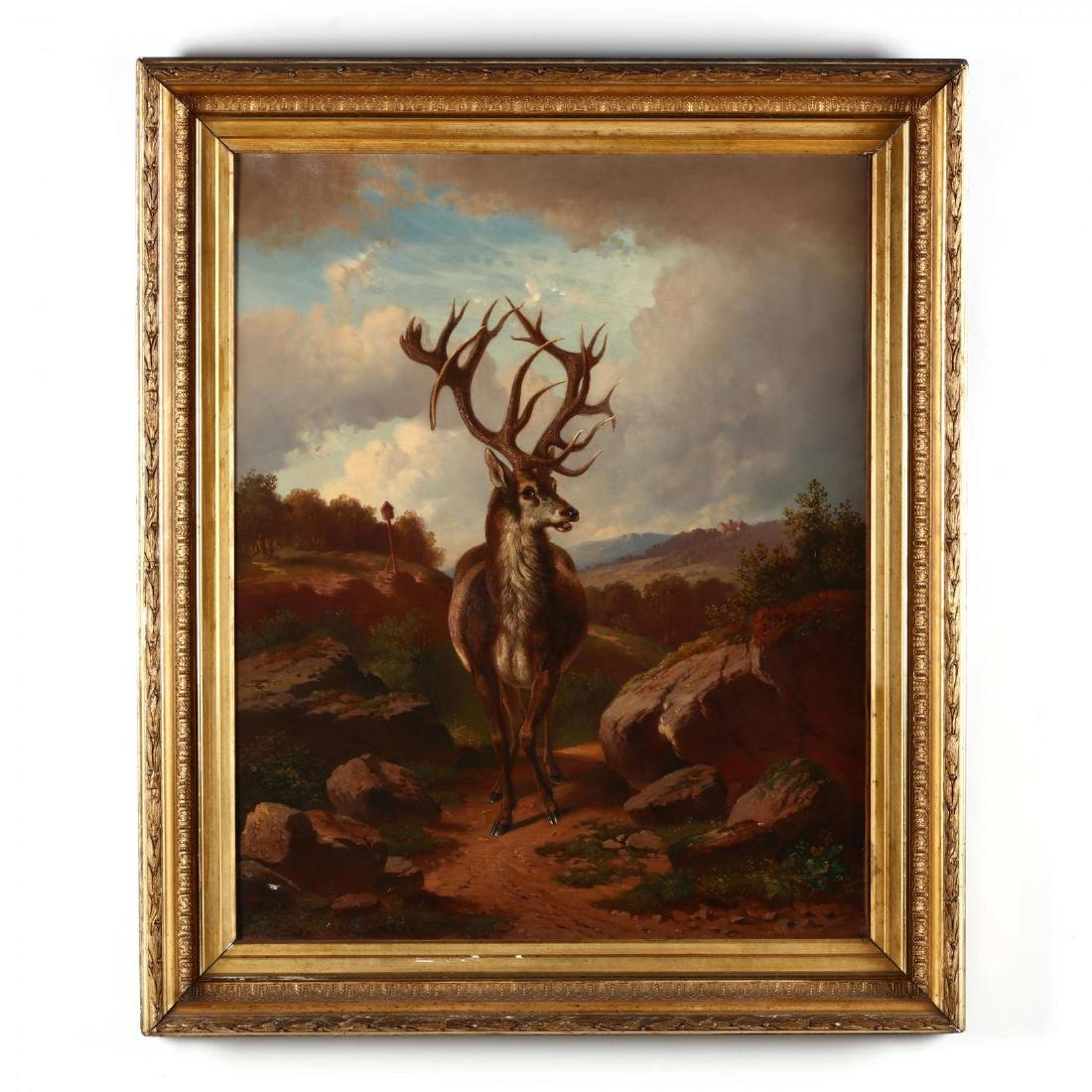 German School, Large Antique Portrait of a Red Stag