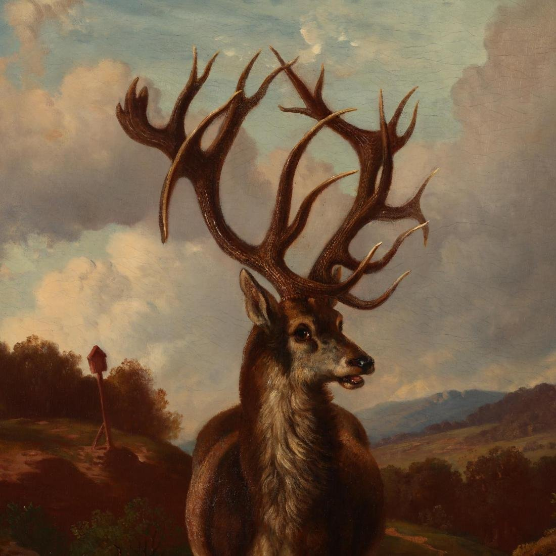German School, Large Antique Portrait of a Red Stag - 2