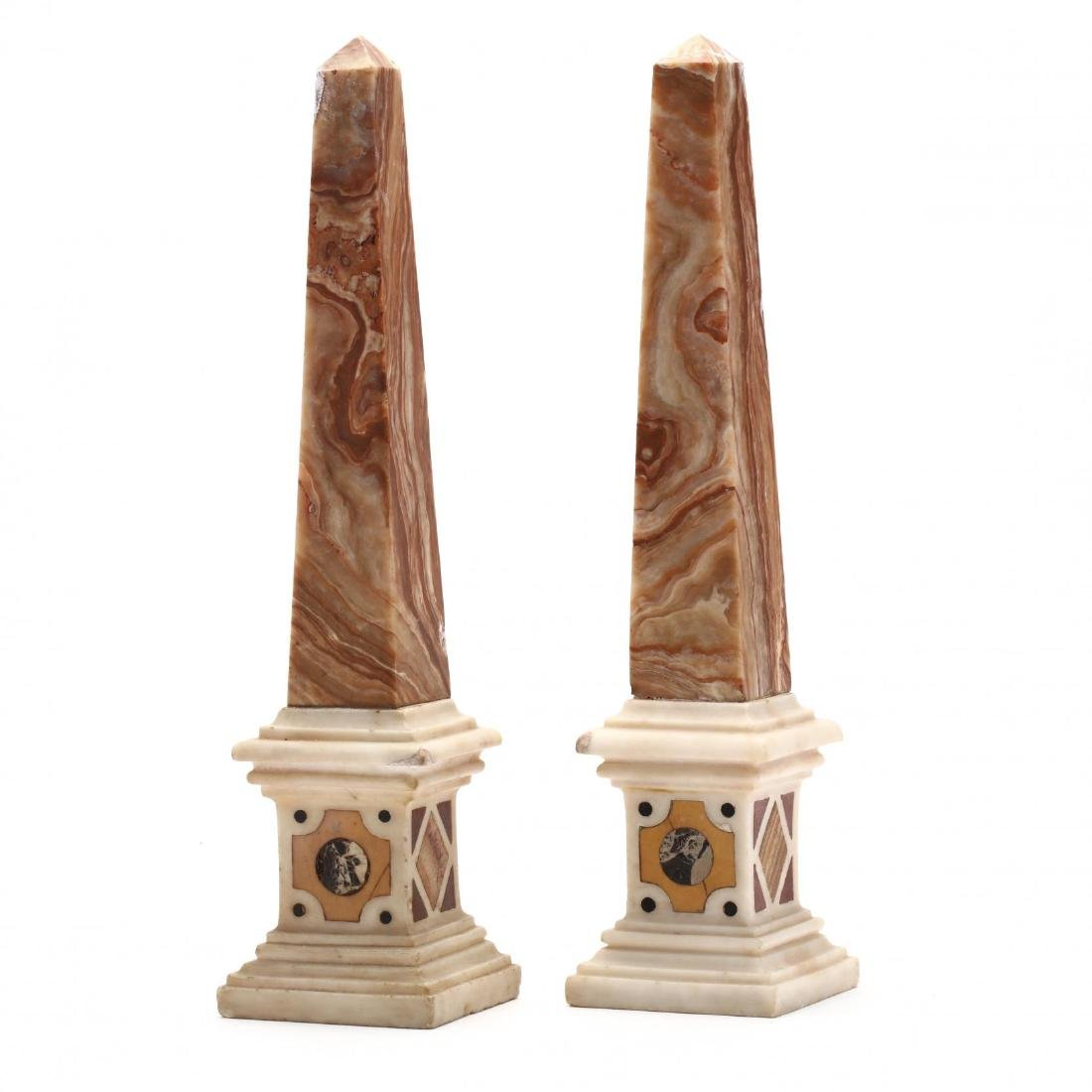 Pair of Pietra Dura Obelisks - 2