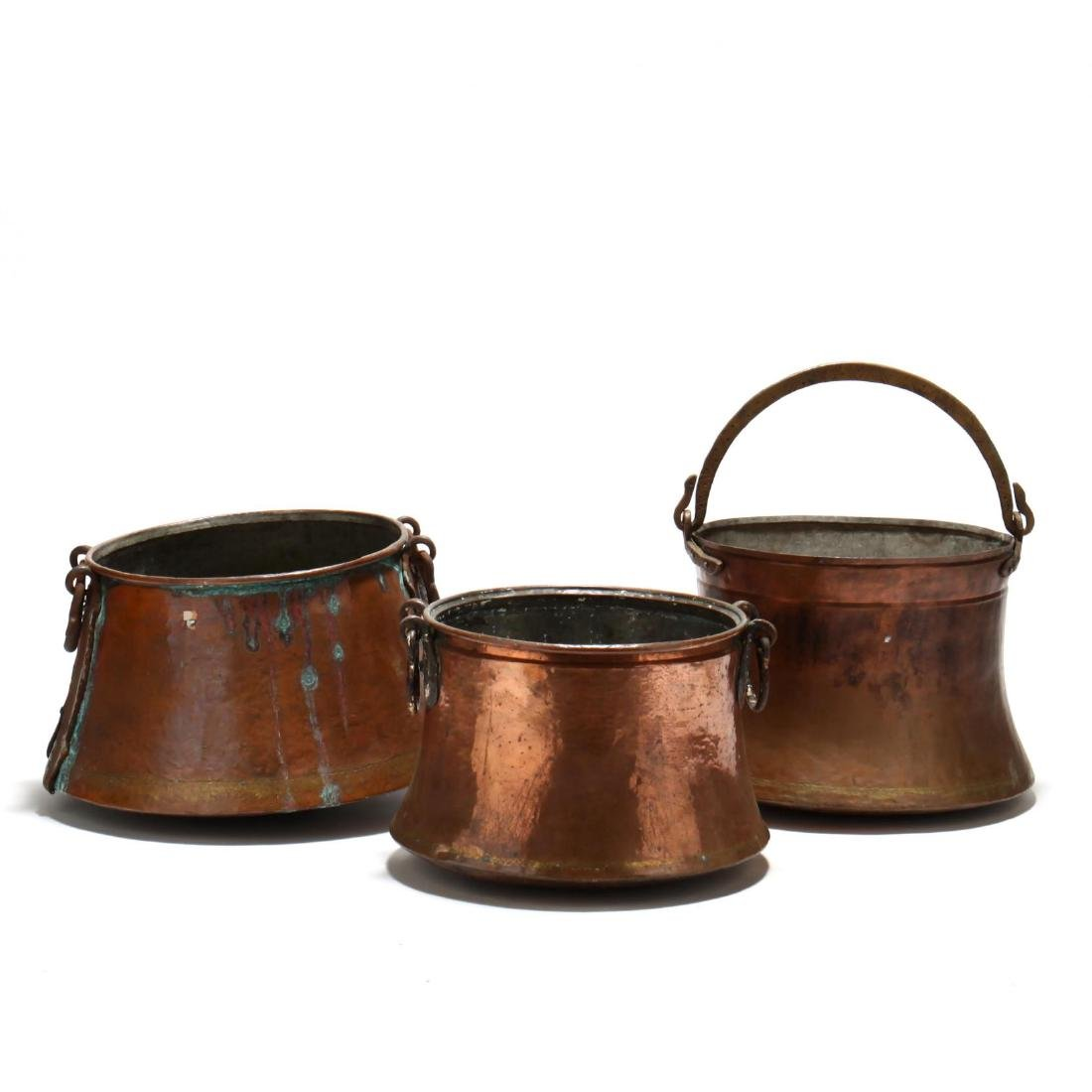 Three Antique Large Copper Cauldrons