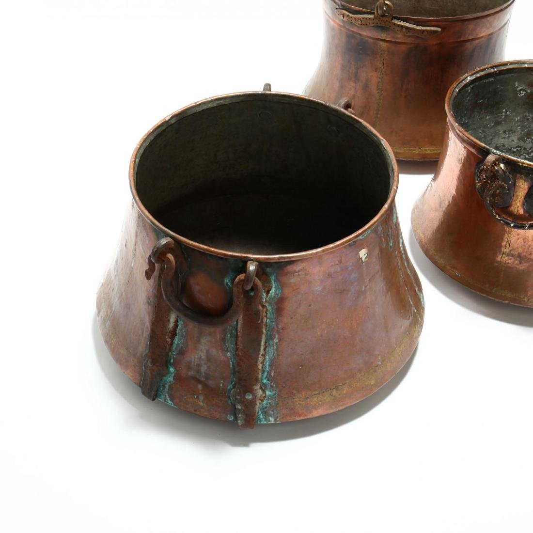 Three Antique Large Copper Cauldrons - 2