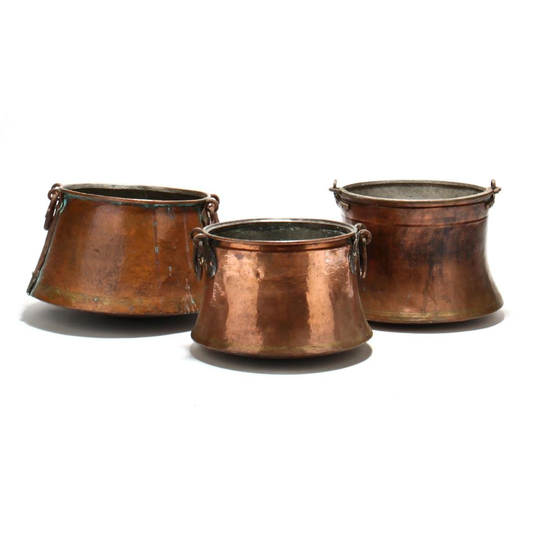 Three Antique Large Copper Cauldrons - 4